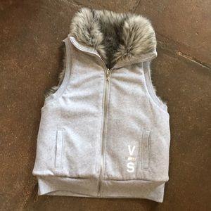 Victoria's Secret reversible faux fur vest sz sm
